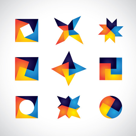 colorful geometric shapes vector icons of design elements. This graphic contains orange, yellow, red, blue colors in vibrant combinations Vector