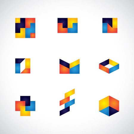 computer art: colorful abstract unusual shapes vector icons of design elements. This graphic contains orange, yellow, red, blue colors in vibrant combinations Illustration