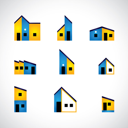 selling house: colorful set of house or home, factory & industrial buildings - vector graphic. This graphic also represents home icons, construction industry, real estate market for buying & selling property Illustration