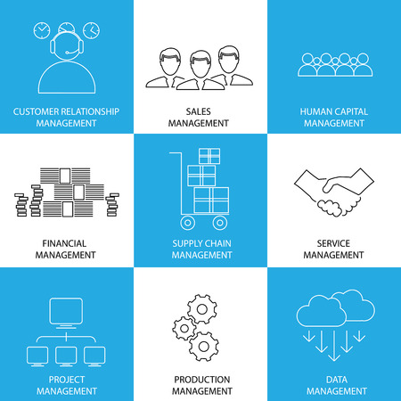 relationship management: flat line icons of management of finance, sales, service - concept vector. This also represents management icons of management of supply-chain, inventory, banking, people, project, production, data