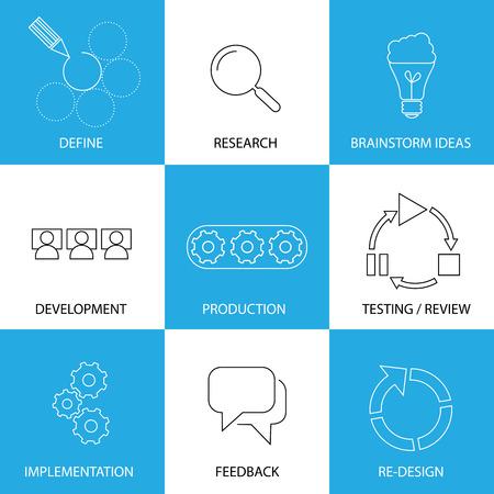 investigando: ingenier�a de software, proceso de planificaci�n del proyecto - l�nea iconos vector de concepto. Algunos de los pasos que est�n definiendo y la investigaci�n, una lluvia de ideas y el desarrollo, pruebas y puesta en pr�ctica, retroalimentaci�n y redise�ar