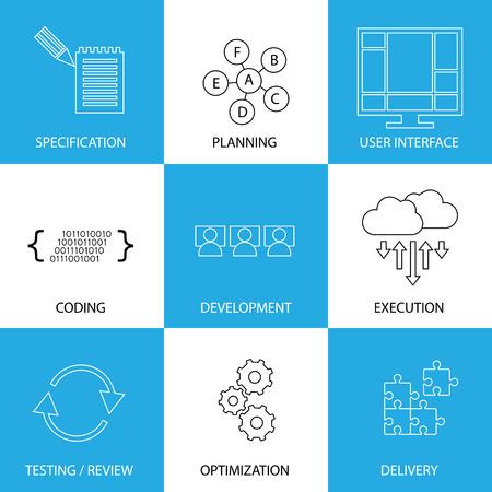 processus de cycle de vie du développement logiciel - d'icônes de lignes notion de vecteur. Ce graphique représente les étapes comme la spécification et la planification, le codage et le développement, l'exécution et l'essai, l'optimisation et la livraison