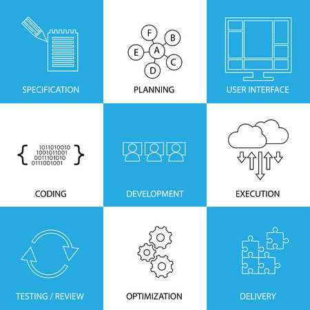 software development life-cycle process - concept vector line icons. This graphic represents steps like specification & planning, coding & development, execution & testing, optimization & delivery Vector
