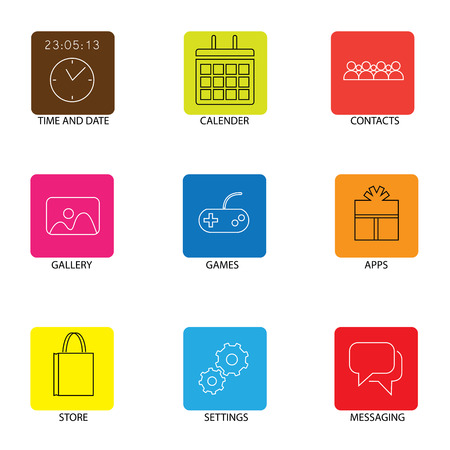 calender: flat line icons for mobile or smartphone - concept vector. This graphic represents cell phone menu icons like calendar, time & date, gallery & store, settings & apps, contacts & messaging Illustration