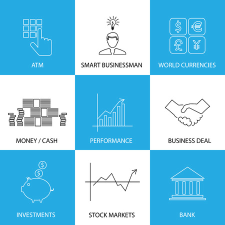 greenbacks: flat line icons on finance, money, currencies - concept vector. This graphic also represents financial performance with graphs, banking money and atm, investments & stock markets, business & deals Illustration