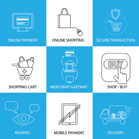 flat line icons on shopping, e-commerce, m-commerce - concept vector. This graphic also represents shopping on websites, payment using credit cards, merchant gateways, secure transactions, delivery Illustration
