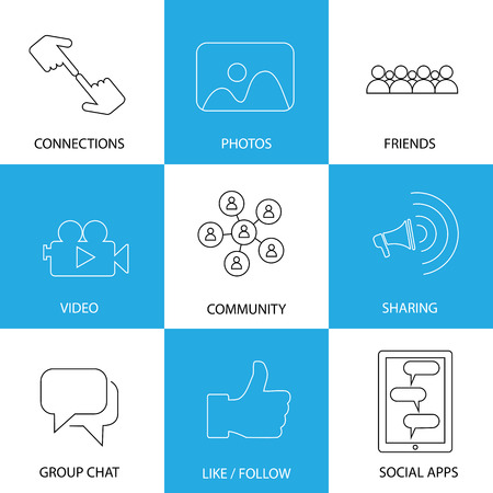 social media icons of friends, like, videos & photos - concept vector. This graphic represents internet concepts like group chat, mobile apps for sharing & interaction, people group engagement