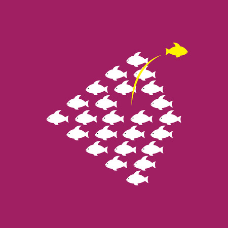 boldness: Being different, taking risky, bold move for success in life - Concept vector. The graphic of fishes also represents the concept of courage, boldness, enterprise, confidence, belief, fearless, daring