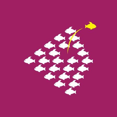 Ser diferente, teniendo arriesgado, audaz para el éxito en la vida - Concepto vector. El gráfico de los peces también representa el concepto de valor, la audacia, la empresa, la confianza, la fe, audaz, atrevimiento Foto de archivo - 31100600