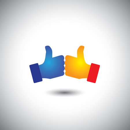 electing: two people thumbs up or like - win win concept vector. This graphic also represents team & teamwork, celebration, victory