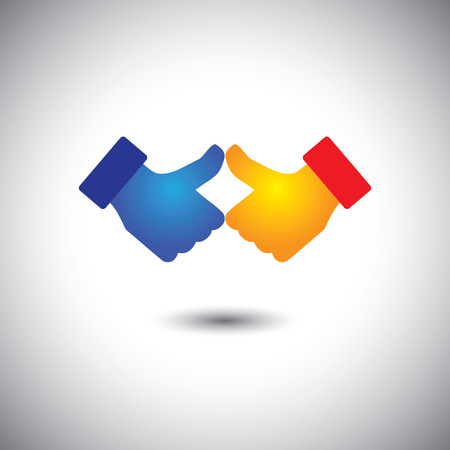 two people thumbs up or like - celebration concept vector. This graphic also represents team & teamwork, win win, victory, jubilation Vector
