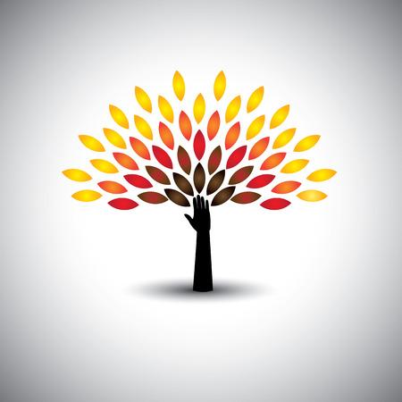 arbol de la vida: colorido árbol de la vida y la mano - concepto de estilo de vida ecológico. Este gráfico iconos también representa la armonía, la conservación de la naturaleza, el desarrollo sostenible, el equilibrio natural, el desarrollo, el crecimiento saludable