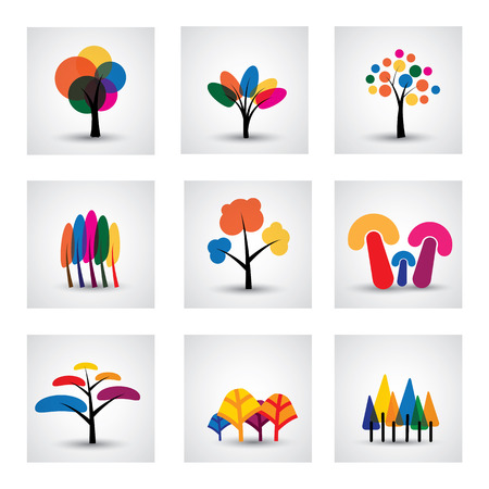 willow: illustration of different kinds of tree icons. This graphic shows common trees like oak, willow, banana, pine, christmas, etc Illustration