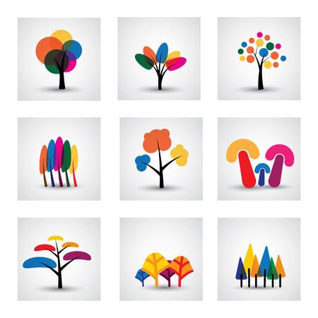sauce: Ilustración de diferentes tipos de iconos de árboles. Este gráfico muestra los árboles comunes como el roble, sauce, plátano, pino, navidad, etc