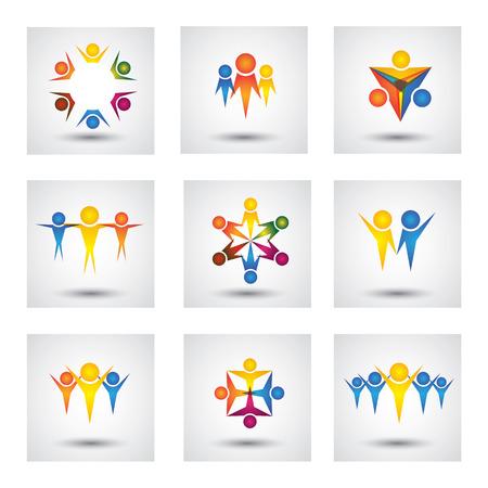 Menschen, Gemeinschaft, kids, Symbole und Design-Elemente. Diese Grafik stellt auch Team & Teamarbeit, Führer & Führung, Erfolg & gewinnen, Gruppeneinheit, Mitarbeiter & Arbeiter, spielende Kinder Standard-Bild - 31642133