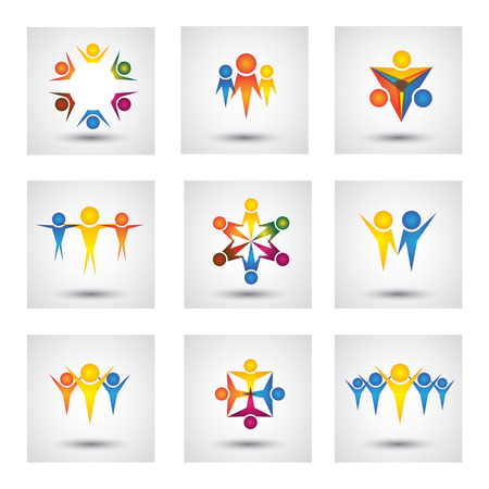 people, community, kids icons and design elements. This graphic also represents team & teamwork, leader & leadership, success & winning, group unity, employees & workers, children playing Illustration