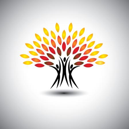 gelukkig, vrolijke mensen als bomen van het leven - eco-concept. Deze grafische pictogrammen vertegenwoordigt ook harmonie, vreugde, geluk, vriendschap, onderwijs, vrede, ontwikkeling, gezonde groei, duurzaamheid