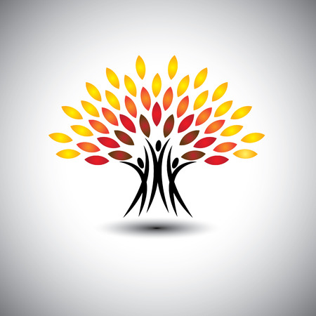 happy, joyous people as trees of life - eco concept. This graphic icons also represents harmony, joy, happiness, friendship, education, peace, development, healthy growth, sustainability