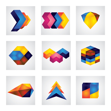 abstract 3d squares, arrows & cube element design icons. This graphic shows different glowing shapes in various colors like yellow, orange, red, blue, pink, etc