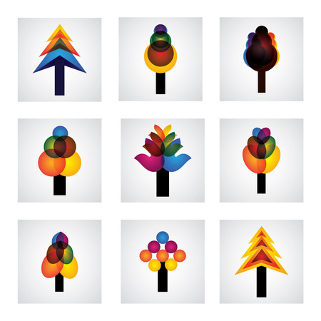 abstract trees icons of pine, christmas - graphic. This graphic shows trees with leaves in different colors like yellow, orange, red, blue, pink, etc Vector