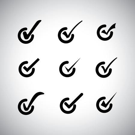 tick mark or right sign vector icons collection set. This graphic can also represent approval, right choice, correct selection, true option, positive answer, saying yes, acceptance, confirmation, etc