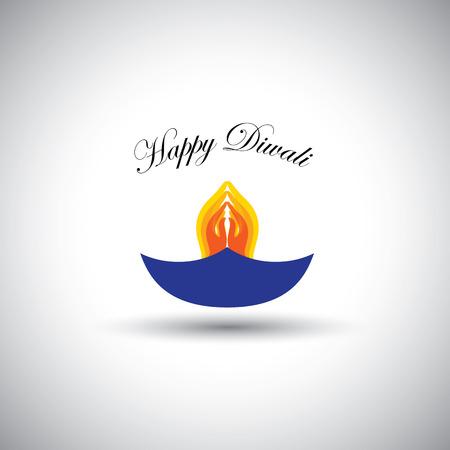 namaste: diwali or deepawali lamp with namaste as fire Illustration