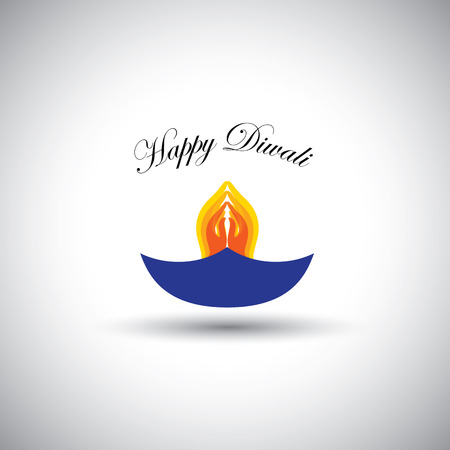 diwali or deepawali lamp with namaste as fire Vector
