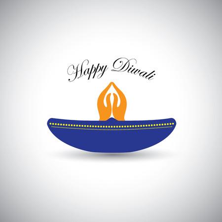 namaste: diwali or deepawali lamp with namaste as fire
