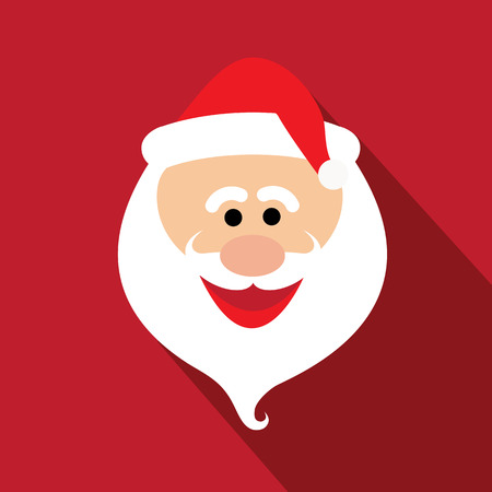 face close up: flat design santa claus face with happy and funny emotions - vector graphic design