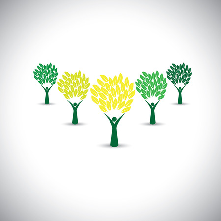 joyous life: happy, joyous people as trees of life - eco concept vector. This graphic icons also represents harmony, joy, happiness, friendship, education, peace, development, healthy growth, sustainability