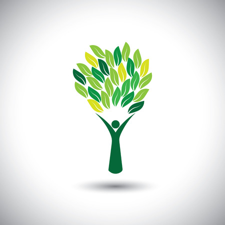 colorful people tree - eco lifestyle concept vector. This graphic also represents harmony, nature conservation, sustainable development, natural balance, development, healthy growth Illustration