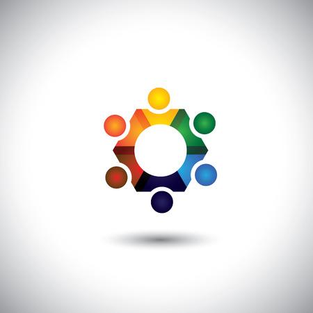 euforia: personas en el c�rculo, la comunidad o equipo de los ni�os, los iconos empleados vectoriales. Esta ilustraci�n gr�fica tambi�n representa la unidad, el trabajo en equipo, liderazgo, cualidades l�der, alegr�a, felicidad, emoci�n y euforia Vectores