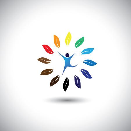 ludzie i natura koła - bilans ekologiczny styl życia pojęcie wektora ikony. Ta grafika przedstawia również harmonię, ochrony przyrody, zrównoważonego rozwoju, równowagi przyrodniczej, rozwój, zdrowy wzrost Ilustracja