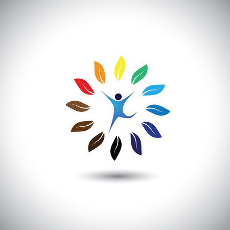 mensen en natuur balans cirkel - eco lifestyle concept vector pictogram. Deze grafische vertegenwoordigt ook harmonie, natuurbehoud, duurzame ontwikkeling, natuurlijke balans, ontwikkeling, gezonde groei