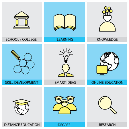 Flat design set of vector line icons of school & college, university education, global distance education learning skill & knowlegde research degree students infographics style concept collection Vector