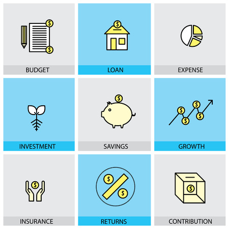 contributions: Flat design set of vector line icons of budget loan expense investment savings growth insurance returns contributions market graph dollar money infographics style concept collection