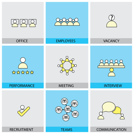 appraisal: Office people vector line flat design icons - appraisal, recruitment, interviews, meetings, conferences. Also showing training,  leadership, teamwork, brainstorming, communication network, vacancies