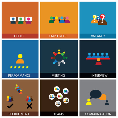 appraisal: Flat design of office people vector icons showing appraisal, recruitment, interviews, meetings, conferences, training, leadership, teamwork, brainstorming, communication, network, vacancies