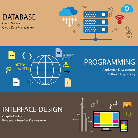 Flat design line icons of concepts like database cloud network and data management programming application development software engineering interface graphic design infographics collection 向量圖像