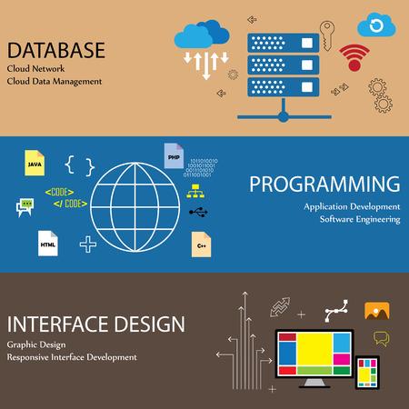 Piso iconos de la línea de diseño de conceptos como la red de la nube de base de datos y los datos de interfaz de ingeniería de software de desarrollo de aplicaciones de recogida infografía diseño gráfico de programación de gestión Foto de archivo - 33235255