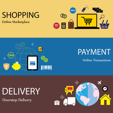 doorstep: online internet shopping payment & delivery concept flat icons set. This graphic has shopping icons online website mobile purchase and payment gateway card payment global delivery & logistics Illustration