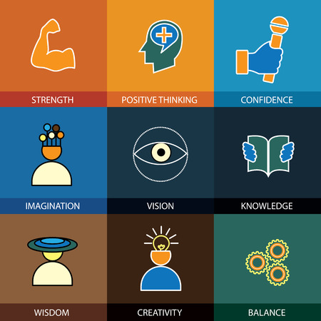 flat design line icons of wisdom, knowledge, imagination - concept vector. This graphic also represents intelligence, vision, forethought, creativity, idea, cleverness, strength, positive thinking Vetores