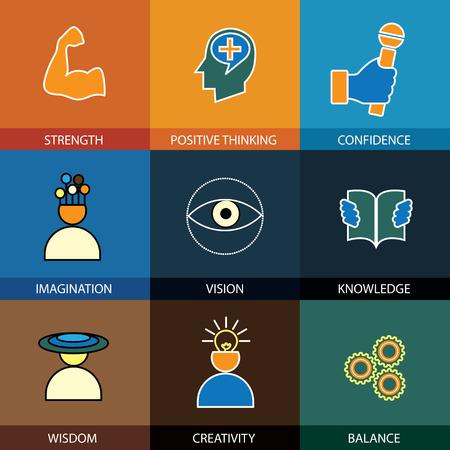 platte ontwerp lijn iconen van wijsheid, kennis, verbeelding - begrip vector. Deze grafische vertegenwoordigt ook intelligentie, visie, vooruit denken, creativiteit, idee, slimheid, kracht, positief denken Vector Illustratie