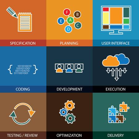 software development life-cycle proces - begrip vector lijn iconen. Deze grafische vertegenwoordigt stappen als specificatie en planning, codering & ontwikkeling, uitvoering en het testen, optimaliseren en levering Stock Illustratie