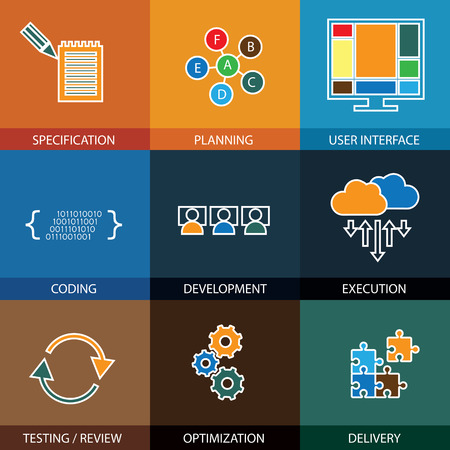 software development: software development life-cycle process - concept vector line icons. This graphic represents steps like specification & planning, coding & development, execution & testing, optimization & delivery Illustration