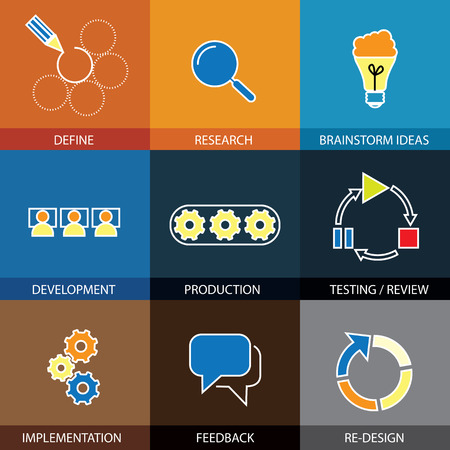 software engineering, project planning - concept vector flat line icons. Some of the steps are defining & research, brainstorming ideas & development, testing & implementation, feedback & redesign Vettoriali