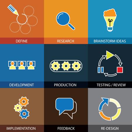 onderzoek: software engineering, project planning - concept vector vlakke lijn iconen. Een aantal van de stappen definieert & onderzoek, brainstormen ideeën & ontwikkeling, testen en implementatie, feedback & herontwerp