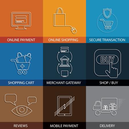 transakcji: płaskie ikony linii na zakupy, e-commerce, m-commerce - Koncepcja wektor. Ta grafika przedstawia także sklepy na stronach internetowych, płatności za pomocą karty kredytowej, bramy handlowych, bezpieczeństwo transakcji, dostawa