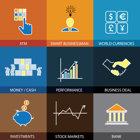 bank transfer: flat line icons on finance, money, currencies - concept vector. This graphic also represents financial performance with graphs, banking money and atm, investments & stock markets, business & deals Illustration