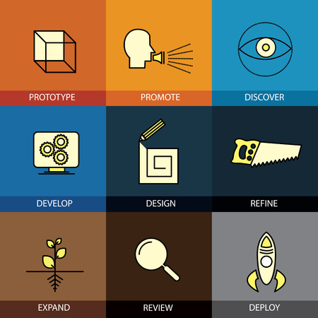 Flat design icons set of vector line prototype promote idea refine develop code programming review deploy expand modern web click infographics style vector illustration concept collection